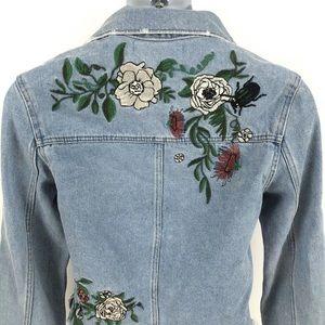 H&M Jackets & Coats - Coachella Denim Cropped Embroidery  Flowers Jacket